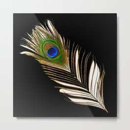 ART DECO PEACOCK FEATHER BLACK ART Metal Print