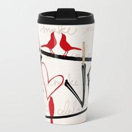 Love Letters Red Bird Clothesline A713 Travel Mug
