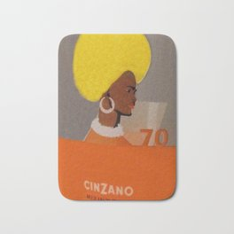 Rare Vintage 1970 Cinzano Aperitif Glass Set Offer Advertisement Poster Bath Mat