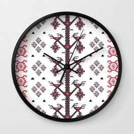 Tribal Ethnic Love Birds Kilim Rug Pattern Wall Clock