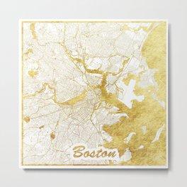 Boston Map Gold Metal Print
