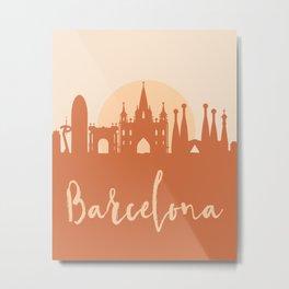 BARCELONA SPAIN CITY SUN SKYLINE EARTH TONES Metal Print