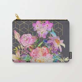 Modern watercolor floral and gold geometric cubes Carry-All Pouch