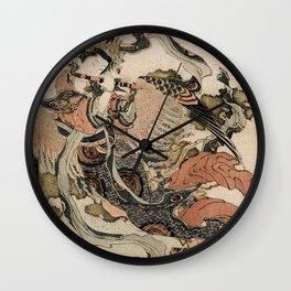 Hokusai, Aspara and the flute – musician manga, japan,hokusai,japanese,北斎,ミュージシャン Wall Clock