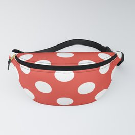 Vermilion - red - White Polka Dots - Pois Pattern Fanny Pack
