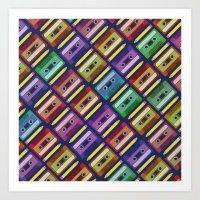 90s Art Prints featuring 90s pattern by Gabor Nemethi