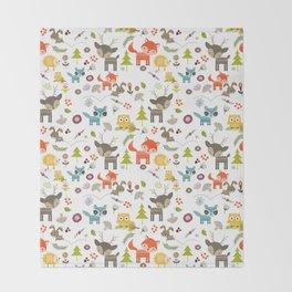 Cute Woodland Creatures Pattern Throw Blanket