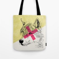 techno Tote Bags featuring Techno Wolf by Zeke Tucker
