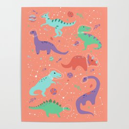 Dinosaurs in Coral Space Poster