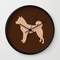 shiba inu Wall Clocks featuring Shiba Inu (Tan/Chocolate) by Erin Rea