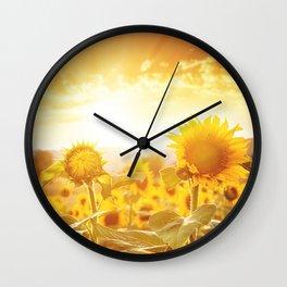 majestic sunflower field Wall Clock