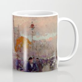 Notre Dame Cathedral, the Effect of Sunlight, Flower Market, Paris, France by Edouard Cortes Coffee Mug