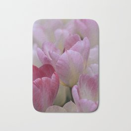 White And PinkTulip Flowers Bath Mat