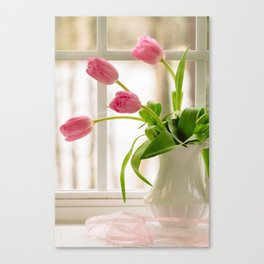 Tulips on windowsill Canvas Print