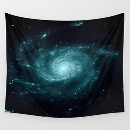 Spiral gALAxy Teal Wall Tapestry