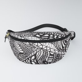 Black white Abstract Paisley doodle geometric pattern Fanny Pack