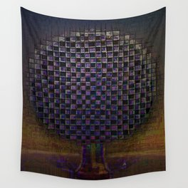 Tree Town Etude Night Wall Tapestry
