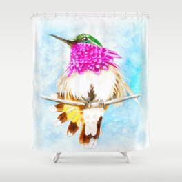 Hummingbird Inky Shower Curtain