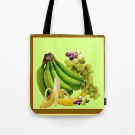 YELLOW-GREEN BANANAS GREEN GRAPES ART DESIGN Tote Bag