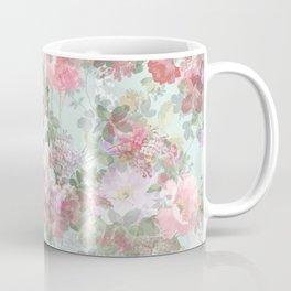 Country chic vintage green blush pink elegant floral Coffee Mug