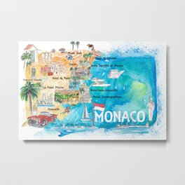 Monaco Monte Carlo Illustrated Map with Landmarks and Highlights Metal Print