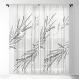 Eucalyptus leaves black and white Sheer Curtain