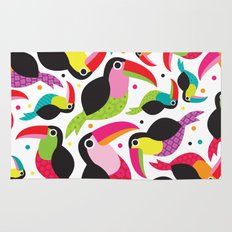 Cute colorful patchwork tucan illustration pattern Rug