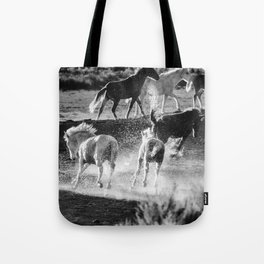 Hijinks at the Waterhole bw Tote Bag