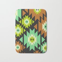 Ethnic shapes in green and brown Bath Mat