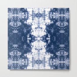 Shibori 6 Indigo Blue Metal Print