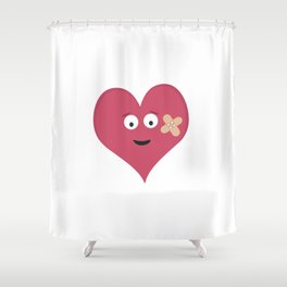 Heart face with patch Shower Curtain