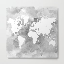 Design 49 Grayscale World Map Metal Print