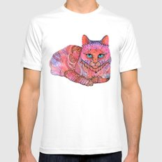 SUNSET CAT White Mens Fitted Tee MEDIUM
