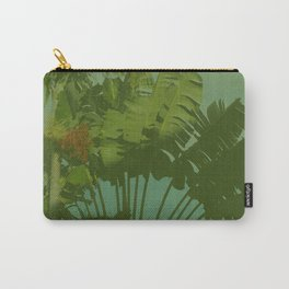Faux Vintage Tropical Fabric Carry-All Pouch
