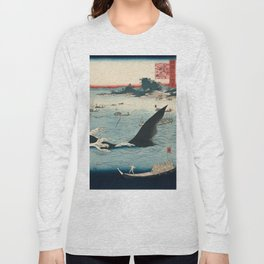 Whale hunting at the island of Goto in Hizen by Hiroshige, 1859 Long Sleeve T-shirt