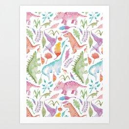 Dinosaur watercolor Art Print