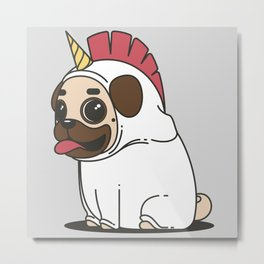 Cute pug transforms into a unicorn Metal Print