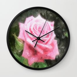 Pink Roses in Anzures 4 Watercolor Wall Clock