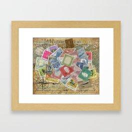 World Stamps Framed Art Print