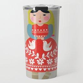 folk girl Travel Mug