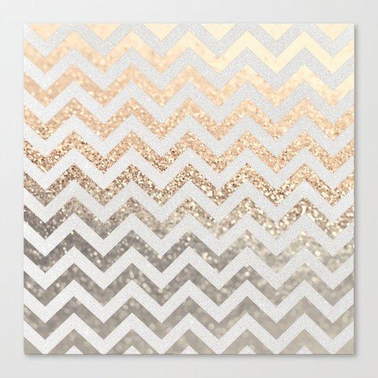 GOLD & SILVER CHEVRON Canvas Print