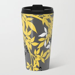 TREE BRANCHES YELLOW GRAY  AND BLACK LEAVES AND BERRIES Travel Mug