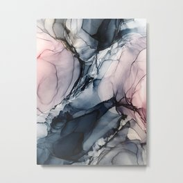 Blush, Navy and Gray Abstract Calm Clouds Metal Print