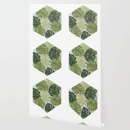 Monstera Hexagon Pattern Wallpaper