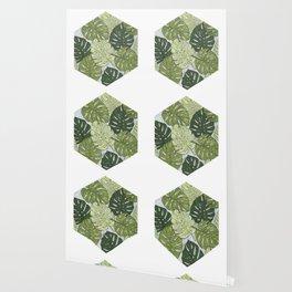Monstera Hexagon Pattern Wallpaper