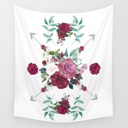 Floral Pattern with Arrows Wall Tapestry