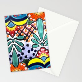 Colorful Talavera, Yellow Accent, Large, Mexican Tile Design Stationery Cards