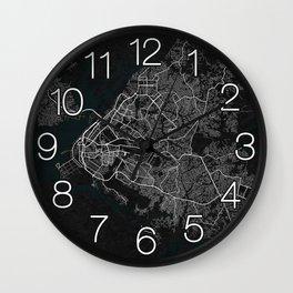 Douala City Map of Cameroon - Dark Wall Clock