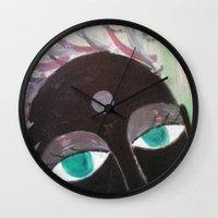 hindu Wall Clocks featuring Hindu Woman by Kathead Tarot/David Rivera