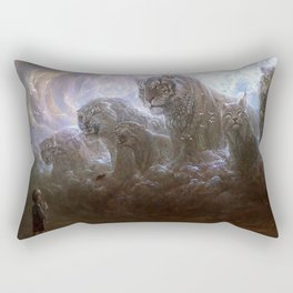 Fascinating Little Boy And Ferocious Fantasy Big Cats Tiger Leopard Lynx Clouds Ultra HD Rectangular Pillow